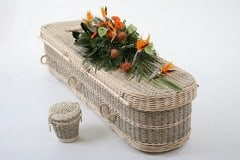 Seagrass shown with ash casket